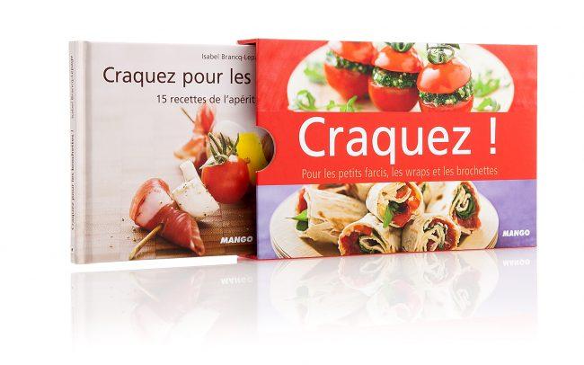Image coffret Mango Craquez pour comprenant 3 livres de 15 recettes culinaires.